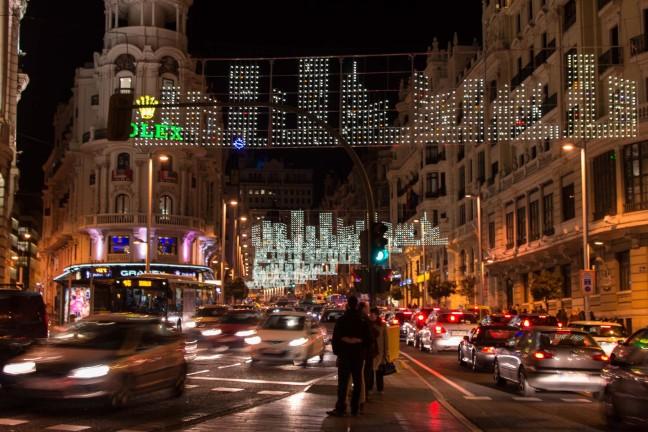 Xmas lights Madrid Spain